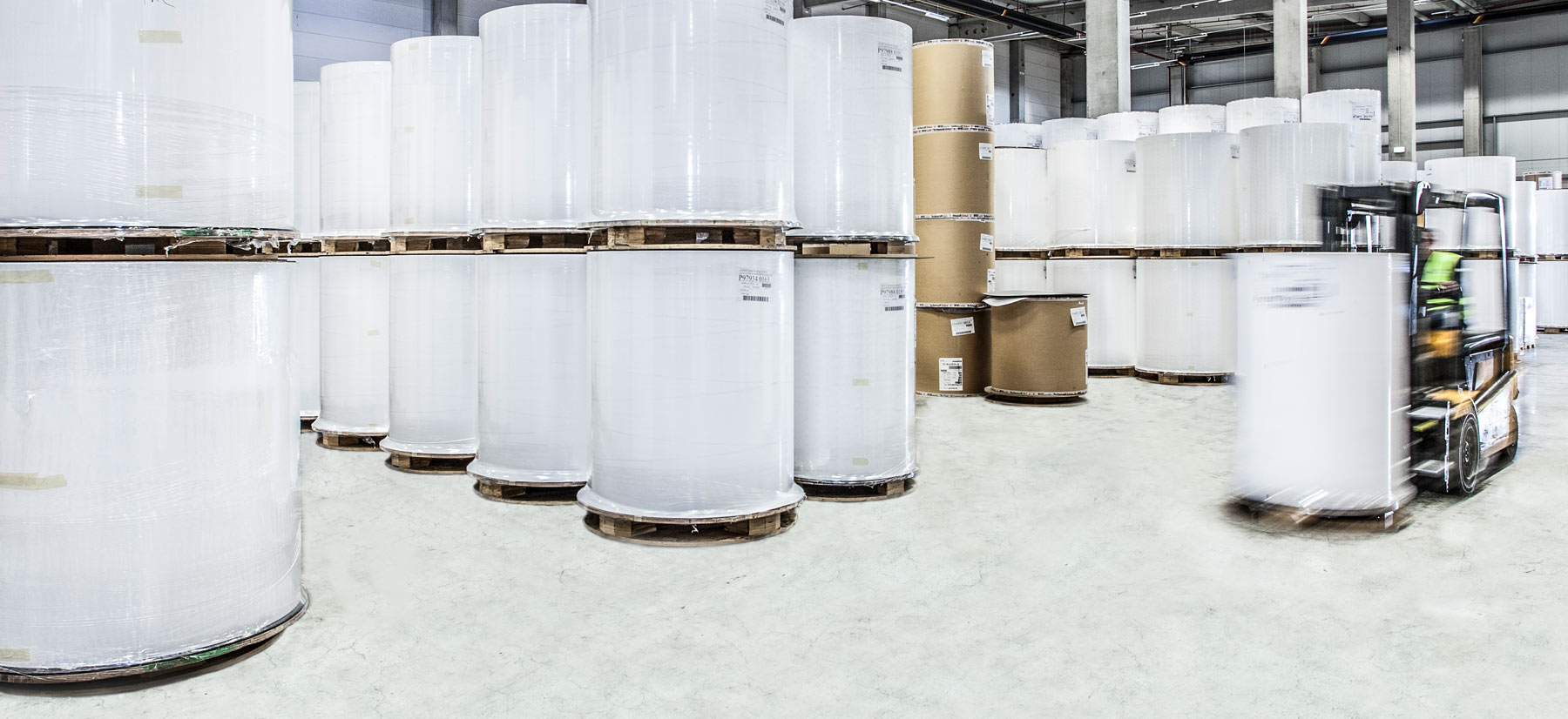 Picture of paper rolls in the warehouse in Siebenlehn